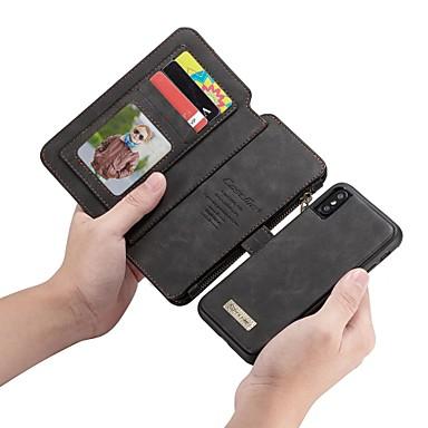 Недорогие Кейсы для iPhone-CaseMe Кейс для Назначение Apple iPhone X Кошелек / Бумажник для карт / Флип Чехол Однотонный Твердый Кожа PU для iPhone X / iPhone 8 Pluss / iPhone 8