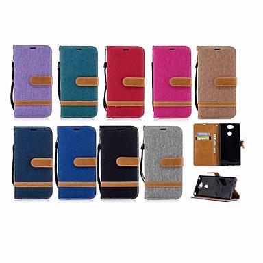 غطاء من أجل Sony Xperia XZ1 Compact / Sony Xperia XZ1 / Sony Xperia XZ Premium محفظة / حامل البطاقات / مع حامل غطاء كامل للجسم لون سادة قاسي منسوجات