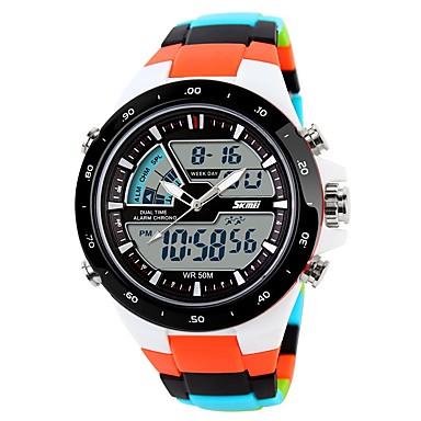 Χαμηλού Κόστους Ανδρικά ρολόγια-Ανδρικά Ψηφιακό ρολόι Ψηφιακό καουτσούκ Μαύρο / Μπλε / Πορτοκαλί Ημερολόγιο Χρονογράφος Διπλές Ζώνες Ώρας Αναλογικό-Ψηφιακό Καθημερινό - Πράσινο Μπλε Μαύρο / Λευκό / Νυχτερινή λάμψη