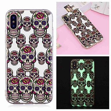 voordelige iPhone X hoesjes-hoesje Voor Apple iPhone XS / iPhone XR / iPhone XS Max Glow in the dark / Patroon Achterkant Doodskoppen Zacht TPU