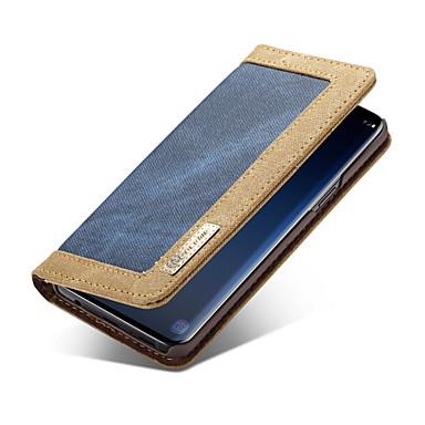 Недорогие Чехлы и кейсы для Galaxy S6 Edge-CaseMe Кейс для Назначение SSamsung Galaxy S9 Plus / S9 Кошелек / Бумажник для карт / Флип Чехол Однотонный Твердый текстильный для S9 / S9 Plus / S8 Plus