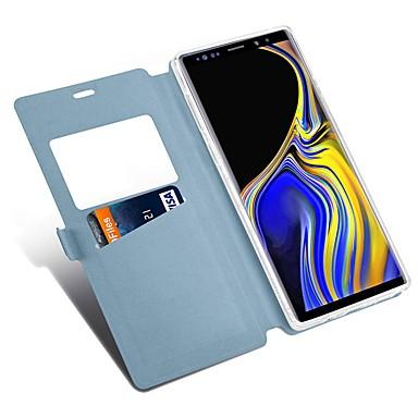 voordelige Galaxy Note-serie hoesjes / covers-hoesje Voor Samsung Galaxy Note 9 / Note 8 Kaarthouder / met standaard / Flip Volledig hoesje Effen / Tegel Hard PU-nahka