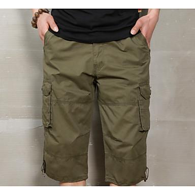 economico Abbigliamento uomo-Per uomo Militare Quotidiano Taglia piccola Pantaloncini / Cargo Pants Pantaloni - Tinta unita Nero Grigio Cachi L XL XXL