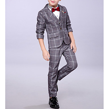 cheap Boys' Clothing-Kids Boys' Basic Plaid Long Sleeve Cotton Polyester Clothing Set Blue
