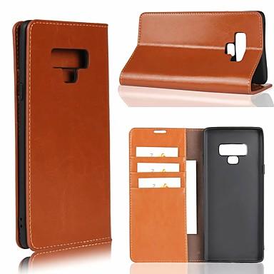 Недорогие Чехлы и кейсы для Galaxy Note 4-Кейс для Назначение SSamsung Galaxy Note 9 / Note 8 / Note 5 Бумажник для карт / со стендом Чехол Однотонный Твердый Настоящая кожа