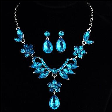 72e484e5db69 abordables Juego de Joyas-Mujer Azul Zirconia Cúbica Rastro Conjunto de  joyas Brillante Flor