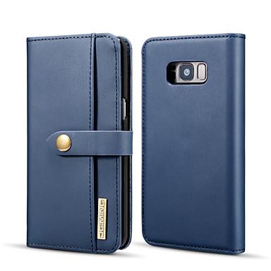 Недорогие Чехлы и кейсы для Galaxy S-Кейс для Назначение SSamsung Galaxy S8 Кошелек / Бумажник для карт / со стендом Чехол Однотонный Твердый Кожа PU