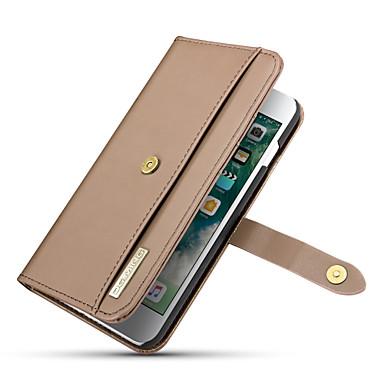 Недорогие Кейсы для iPhone-Кейс для Назначение Apple iPhone 8 Pluss / iPhone 7 Plus Кошелек / Бумажник для карт / со стендом Чехол Однотонный Твердый Настоящая кожа