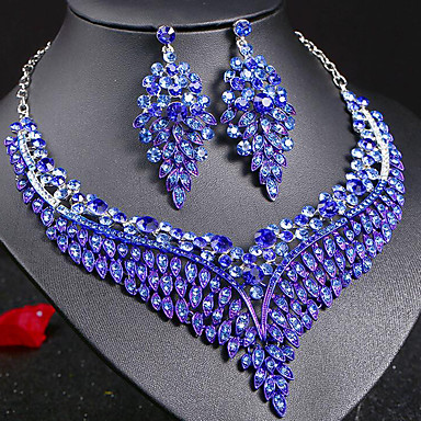 3971bd54c8e3a0 cheap Jewelry Sets-Women's Sapphire Crystal Statement Necklace  Earrings Bridal Jewelry
