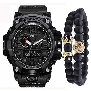 זול שעוני גברים-בגדי ריקוד גברים שעוני ספורט שעון דיגיטלי Japanese דיגיטלי ערכת מתנה דמוי עור מרופד שחור / כחול / תפוז 50 m כרונוגרף יצירתי עיצוב חדש אנלוגי-דיגיטלי וינטאג' אופנתי - זהב /  שחור חאקי ירוק כהה