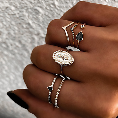 Women's Retro Knuckle Ring Ring Set Multi Finger Ring Resin Alloy Sun Ladies Vintage Punk Boho