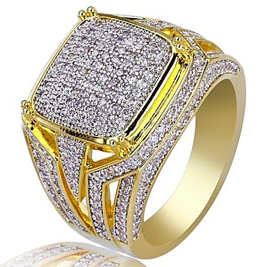 cheap Rings-Men's Cubic Zirconia Classic Ring Signet Ring Rhinestone Stylish