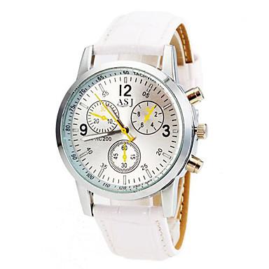 זול שעוני גברים-בגדי ריקוד גברים שעון יד שעון תעופה קווארץ עור דמוי עור מרופד שחור / לבן / כחול שעונים יום יומיים אנלוגי קלסי יום יומי - לבן שחור כחול שנה אחת חיי סוללה