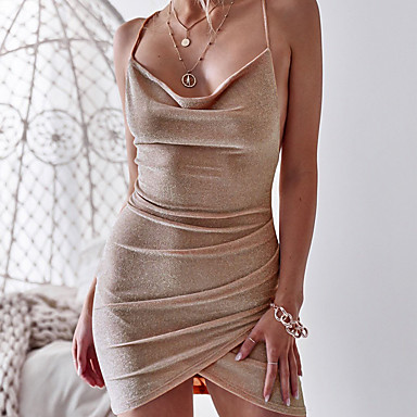 cheap Bodycon Dresses-Women's Holiday Elegant Mini Slim Sheath Dress - Solid Colored Backless High Waist Strap Fall Silver Khaki Lavender M L XL / Sexy
