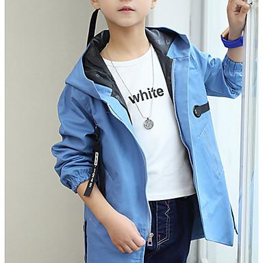 cheap Boys' Jackets & Coats-Kids Boys' Basic Daily Solid Colored Long Sleeve Regular Cotton Jacket & Coat Green