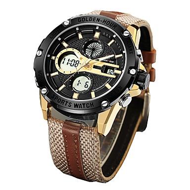 levne Pánské-Pánské Sportovní hodinky Vojenské hodinky Digitální hodinky japonština Digitální Kůže Hnědá / Zelená 30 m Voděodolné Kalendář Chronograf Analog - Digitál Skládaný Módní - Černá stříbrná / černá Zlat