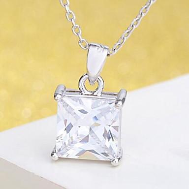 billige Vedhæng Halskæde-Dame Kvadratisk Zirconium Vedhæng 3D faceter Damer Stilfuld Klassisk Broche Smykker Sølv Til Daglig Ceremoni