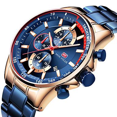 e655a0c6a255 MINI FOCUS Hombre Reloj de Vestir Relojes Quartz Reloj de aviacion Japonés  Cuarzo Acero Inoxidable Negro