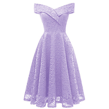 cheap Prom Dresses-Women's Sophisticated Elegant A Line Bodycon Dress - Solid Colored Lace Purple Wine Lavender L XL XXL