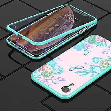 Недорогие Кейсы для iPhone-Кейс для Назначение Apple iPhone XR / iPhone XS Max Защита от удара / С узором Кейс на заднюю панель Бабочка Твердый Закаленное стекло / ПК