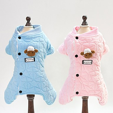 Dogs Cats Jumpsuit Dog Clothes Plaid / Check Toile Blue Pink Cotton Costume For Winter Unisex Animals Sweet