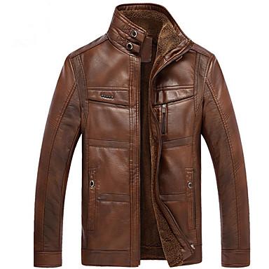 billiga Herr Modekläder-Herr Dagligen Grundläggande Normal Läderjackor, Enfärgad Polokrage Långärmad PU Brun / Khaki grön XL / XXL / XXXL