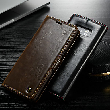 Недорогие Чехлы и кейсы для Galaxy Note 4-Кейс для Назначение SSamsung Galaxy Note 9 / Note 8 / Note 5 Кошелек / Бумажник для карт / со стендом Чехол Однотонный Твердый Кожа PU