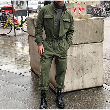 billige Herrers Mode Beklædning-Herre Daglig Basale Sort Grå Army Grøn Flyverdragtter, Ensfarvet XL XXL XXXL Langærmet