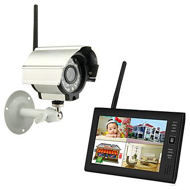 """tanie Systemy CCTV-Nowa bezprzewodowa 4ch quad kamery DVR 1 z 7 """"TFT-LCD Monitor systemu bezpieczeństwa w domu"""