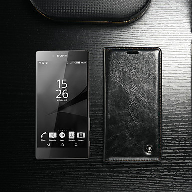 voordelige Hoesjes / covers voor Sony-hoesje Voor Sony Sony Xperia Z5 Premium / Sony Xperia Z4 / Sony Xperia Z5 Portemonnee / Kaarthouder / met standaard Volledig hoesje Effen Hard PU-nahka