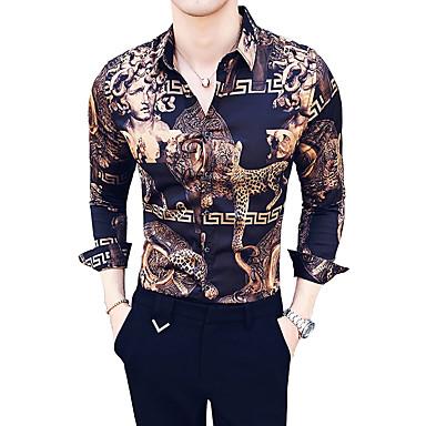 זול ביגוד אופנתי לגברים-חיה / שבטי צווארון קלאסי רזה פאר / וינטאג' חולצה - בגדי ריקוד גברים חום XL / שרוול ארוך / קיץ