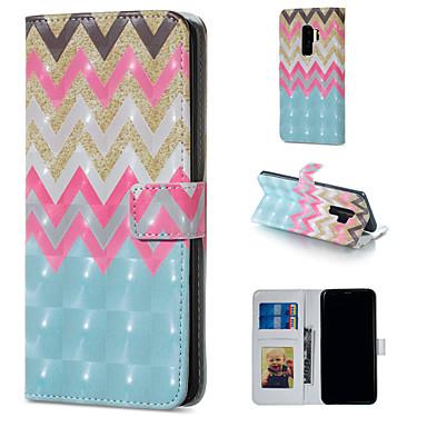 Недорогие Чехлы и кейсы для Galaxy S6-Кейс для Назначение SSamsung Galaxy S9 / S9 Plus / S8 Plus Кошелек / Бумажник для карт / со стендом Чехол Полосы / волосы Твердый Кожа PU