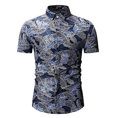 Men's Basic Shirt - Floral / Color Block / Graphic Print