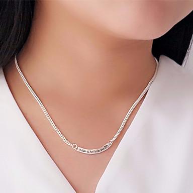 billige Mode Halskæde-Dame Logo Halskædevedhæng S925 Sterling Sølv Simple Mode Sølv 46 cm Halskæder Smykker 1pc Til Bryllup Forlovelse