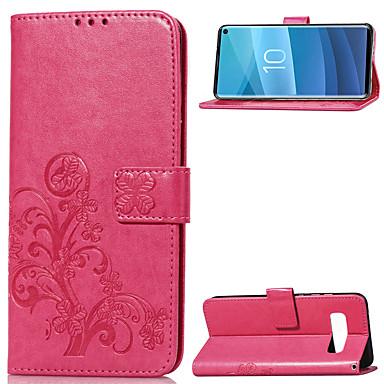 Недорогие Чехлы и кейсы для Galaxy S-Кейс для Назначение SSamsung Galaxy Galaxy S10 Кошелек / Бумажник для карт / со стендом Чехол Однотонный Мягкий Кожа PU