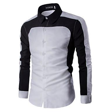 economico Abbigliamento uomo-Camicia Per uomo Ufficio Lavoro Monocolore Colletto classico Bianco L / Manica lunga / Primavera / Autunno / Taglia piccola