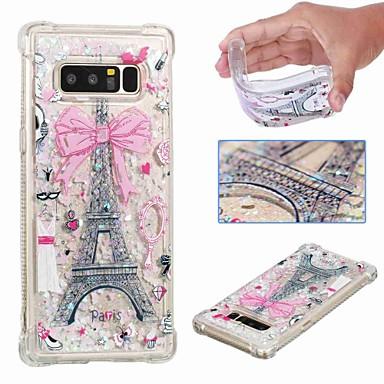 voordelige Galaxy Note-serie hoesjes / covers-hoesje Voor Samsung Galaxy Note 9 / Note 8 Schokbestendig / Stromende vloeistof / Transparant Achterkant Eiffeltoren / Glitterglans Zacht TPU
