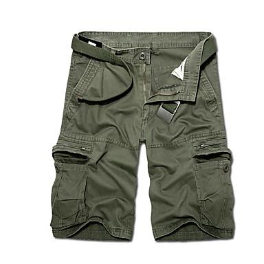 baratos Roupa de Homem Moderna-Homens Básico / Militar Diário Solto Shorts Calças - Sólido Verde Tropa Khaki Cinza Claro 36 38 37