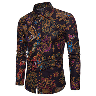 baratos Roupa de Homem Moderna-Homens Camisa Social Vintage Estampado, Estampado Cashemere / Tribal Linho Colarinho Italiano Preto XXXL-US42 / UK42 / EU50 / Manga Longa