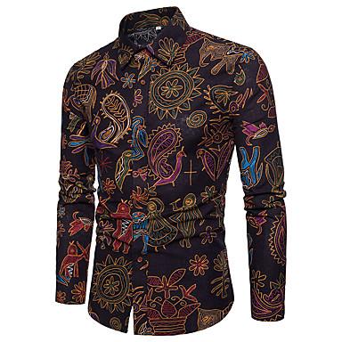 billige Herre Toppe-Spredt krave Herre - Paisley / Tribal Hør, Trykt mønster Vintage Skjorte Sort XXXL-US42 / UK42 / EU50 / Langærmet