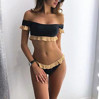 cheap Tankinis-Women's Off Shoulder Black Cheeky Bikini Swimwear - Solid Colored S M L Black / Sexy