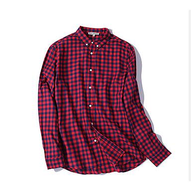 billige Herrers Mode Beklædning-Herre - Ruder Patchwork Basale Skjorte Rød L / Langærmet