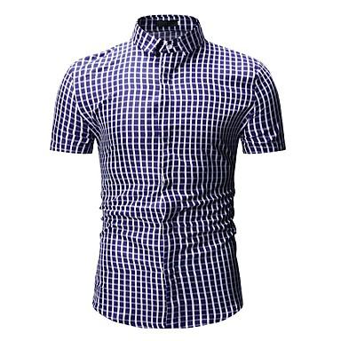 Men's Basic Shirt - Striped / Geometric / Color Block Print