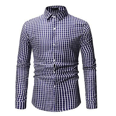 זול ביגוד אופנתי לגברים-פסים / גיאומטרי / קולור בלוק בסיסי כותנה, חולצה - בגדי ריקוד גברים דפוס פול XL / שרוול ארוך