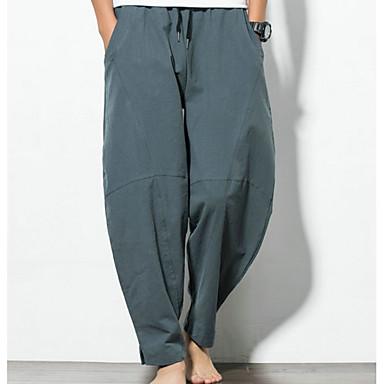 abordables Vêtements de Mode pour Hommes-Homme Basique Grandes Tailles Chino Pantalon - Couleur Pleine Noir