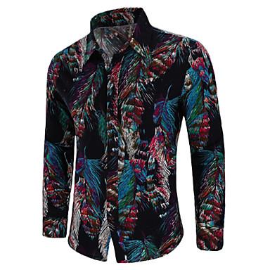 a4656c57cd Homens Tamanhos Grandes Camisa Social Vintage / Boho Estampado, Floral /  Tribal Algodão Colarinho Italiano
