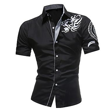 billige Herrers Mode Beklædning-Tynd Herre - Geometrisk Skjorte Hvid XXL / Kortærmet
