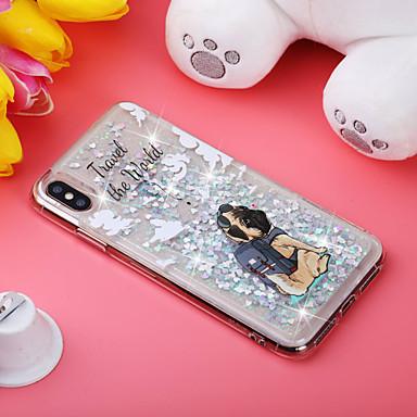 voordelige iPhone 5 hoesjes-hoesje Voor Apple iPhone XS / iPhone XR / iPhone XS Max Schokbestendig / Stromende vloeistof / Patroon Achterkant Hond / Glitterglans Zacht TPU
