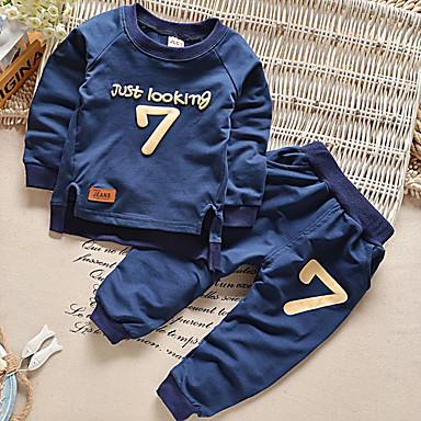 ieftine Haine Bebeluși Băieți-Bebelus Băieți De Bază Jacquard Manșon Lung Regular Regular Set Îmbrăcăminte Albastru piscină / Copil