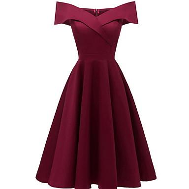 cheap Vintage Dresses-2019 New Arrival Dresses Women's A Line Dress Elbise Vestidos Robe Femme Navy Blue Wine L XL XXL
